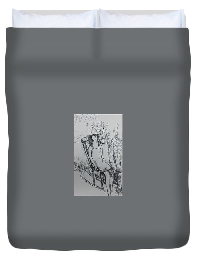Girl Duvet Cover featuring the drawing Girl At The Garden by Hae Kim