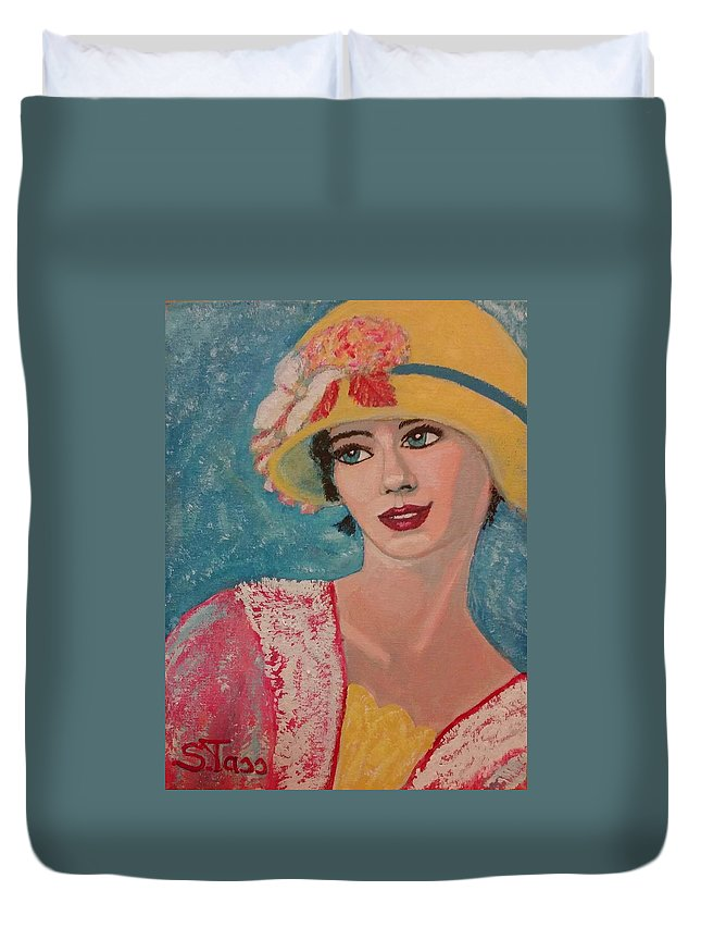 Duvet Cover featuring the painting Girl From The Twenties by Sylvia Tass