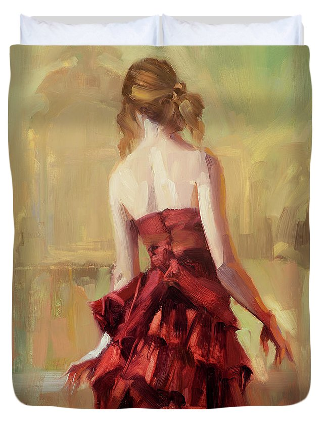 Dance Duvet Cover featuring the painting Girl In A Copper Dress II by Steve Henderson