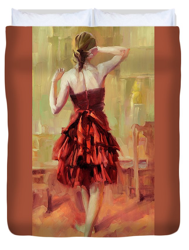 Dancer Duvet Cover featuring the painting Girl in a Copper Dress III by Steve Henderson