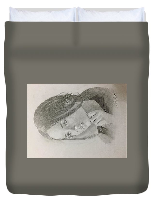 Duvet Cover featuring the drawing Girl In Deep Thoughts by Vaibhav singh Sengar