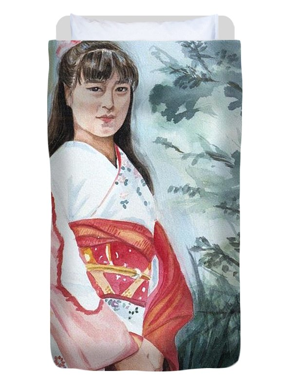Japanese Girl In Kimono Duvet Cover featuring the painting Girl In Kimono by Judy Swerlick