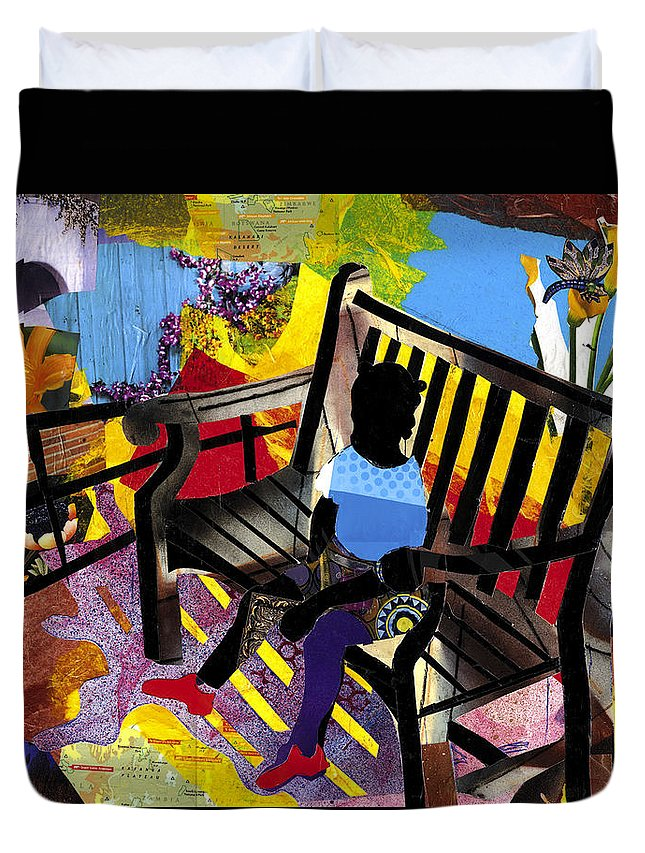 Everett Spruill Duvet Cover featuring the painting Girl In Red Shoes by Everett Spruill