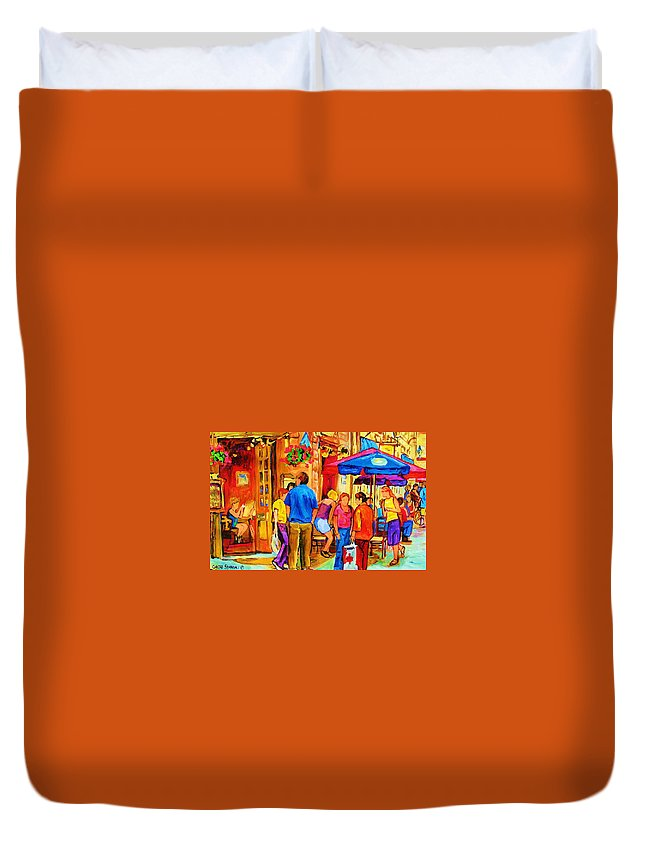 Montreal Cafe Scenes Duvet Cover featuring the painting Girl In The Cafe by Carole Spandau