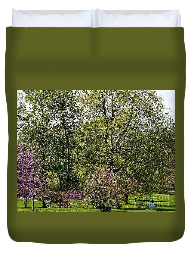 Meadow Duvet Cover featuring the photograph Girl In The Meadow by Ivana Kovacic