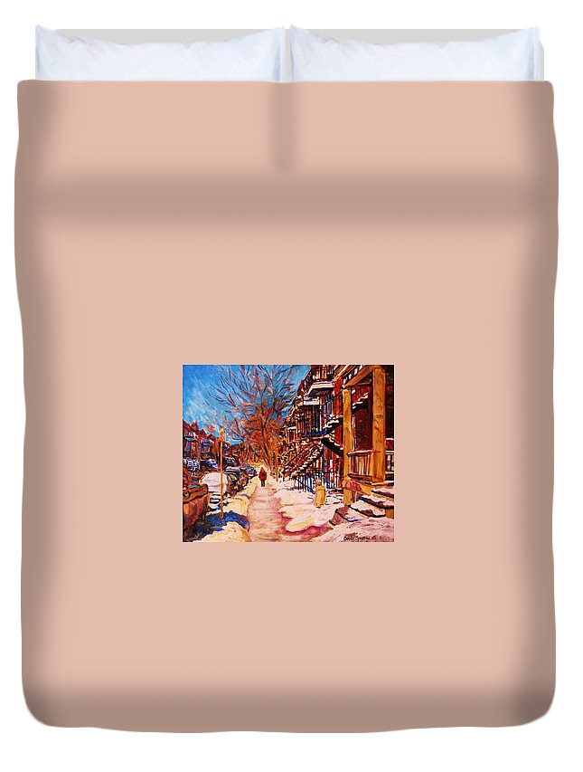 Children Duvet Cover featuring the painting Girl In The Red Jacket by Carole Spandau