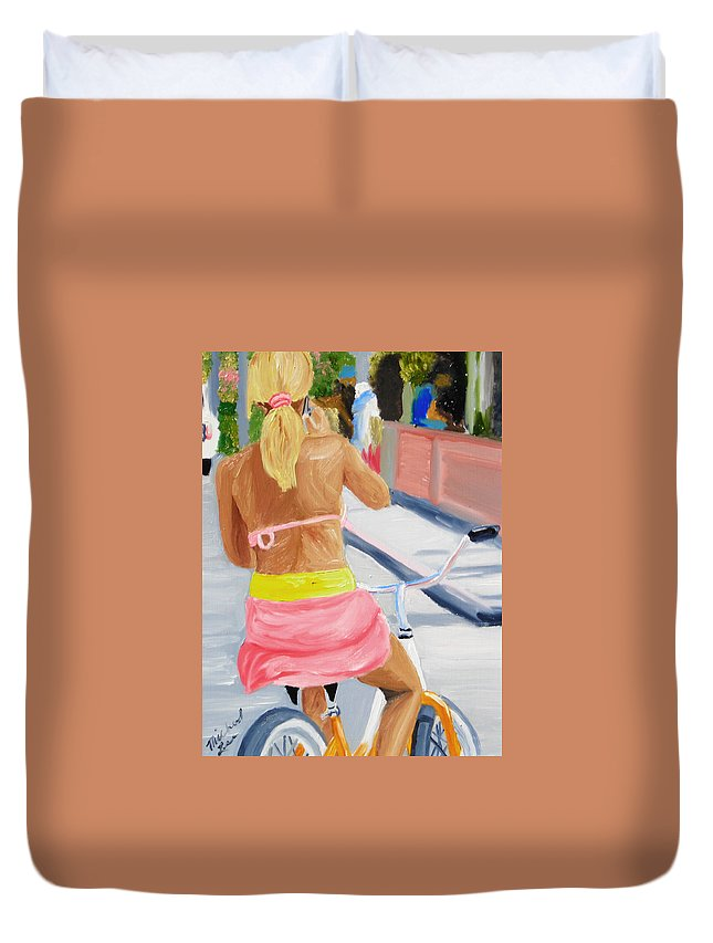 Girl Duvet Cover featuring the painting Girl On Bike by Michael Lee