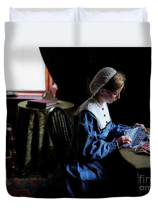 Girl Duvet Cover featuring the photograph Girl Sewing by M G Whittingham