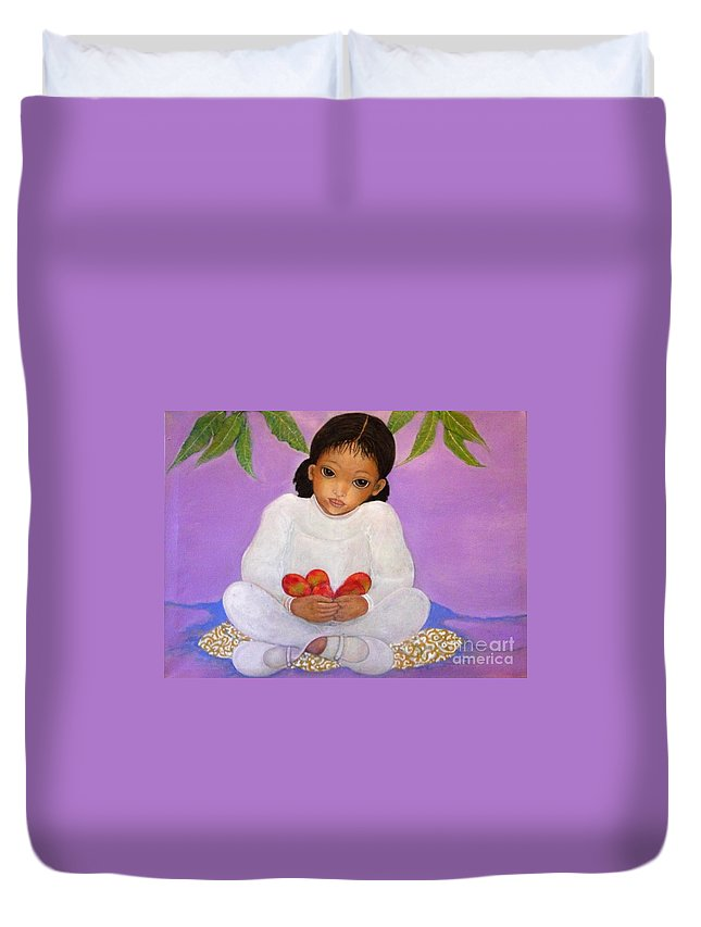 Contemporary Art Duvet Cover featuring the painting Girl Sitting Under Mango Tree by Katrina Dalton