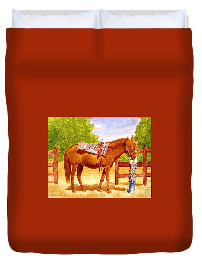 Equine Duvet Cover featuring the painting Girl talk by Stacy C Bottoms