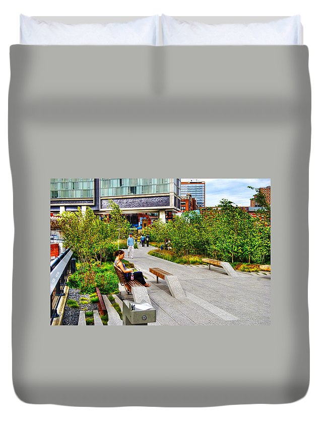 High Line Park Duvet Cover featuring the photograph Girl Uninterrupted On The High Line by Randy Aveille