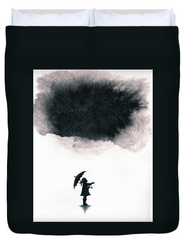 Ink Duvet Cover featuring the painting Girl Waiting For Rain by Spencer Whalen