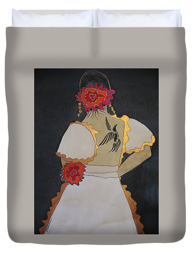 Women With Tattoo Duvet Cover featuring the painting Lady With Flowers by Magdalina Mihelich