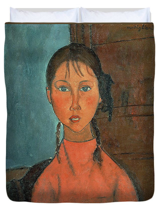 Girl With Pigtails Duvet Cover featuring the painting Girl With Pigtails by Amedeo Modigliani