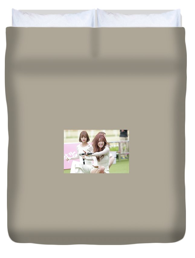 Girl's Day Duvet Cover featuring the digital art Girl's Day by Dorothy Binder
