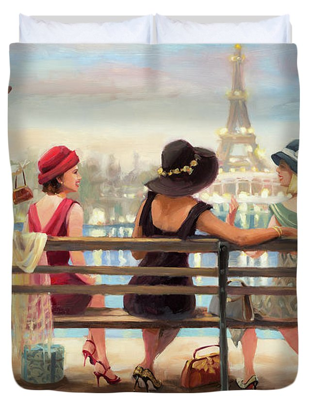 Paris Duvet Cover featuring the painting Girls Day Out by Steve Henderson