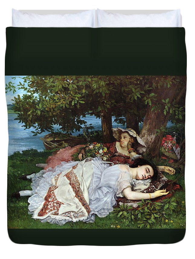 Girls Duvet Cover featuring the painting Girls On The Banks Of The Seine by Gustave Courbet