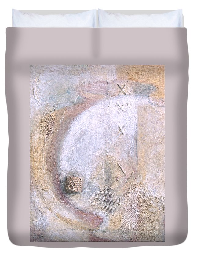 Collage Duvet Cover featuring the painting Give And Receive by Kerryn Madsen-Pietsch