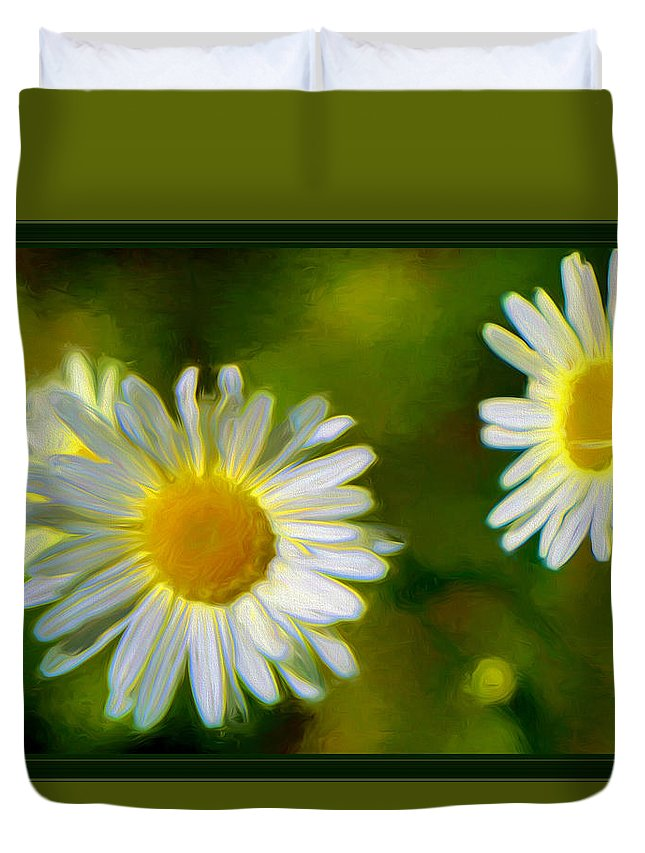 Daisies Duvet Cover featuring the mixed media Give Me Daisy In Color by Debra Lynch