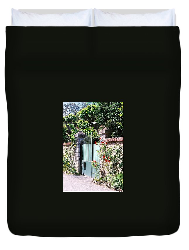 Giverny Duvet Cover featuring the photograph Giverny Gate by Nadine Rippelmeyer