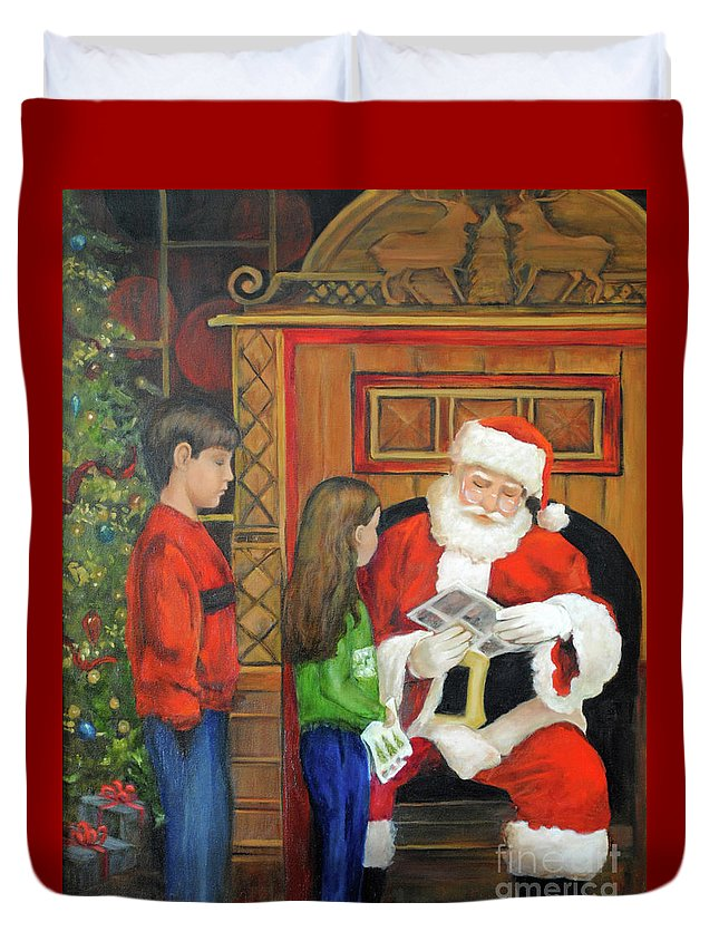 Christmas Duvet Cover featuring the painting Giving The List To Santa by Carolyn Shireman