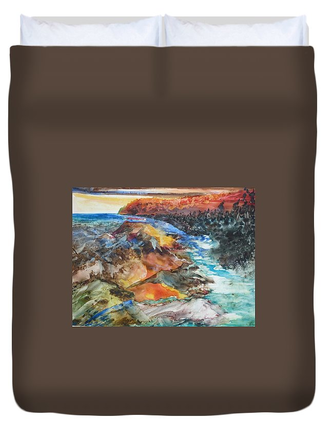 Abstract Duvet Cover featuring the painting Glacial Meltdown by Ruth Kamenev