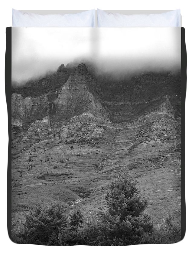 Glacier National Park Montana Horizontal Black And White Mountain Cloud Landscape Striation Pine Tree Waterfall Duvet Cover featuring the photograph Glacier National Park Montana Vertical by Heather Kirk