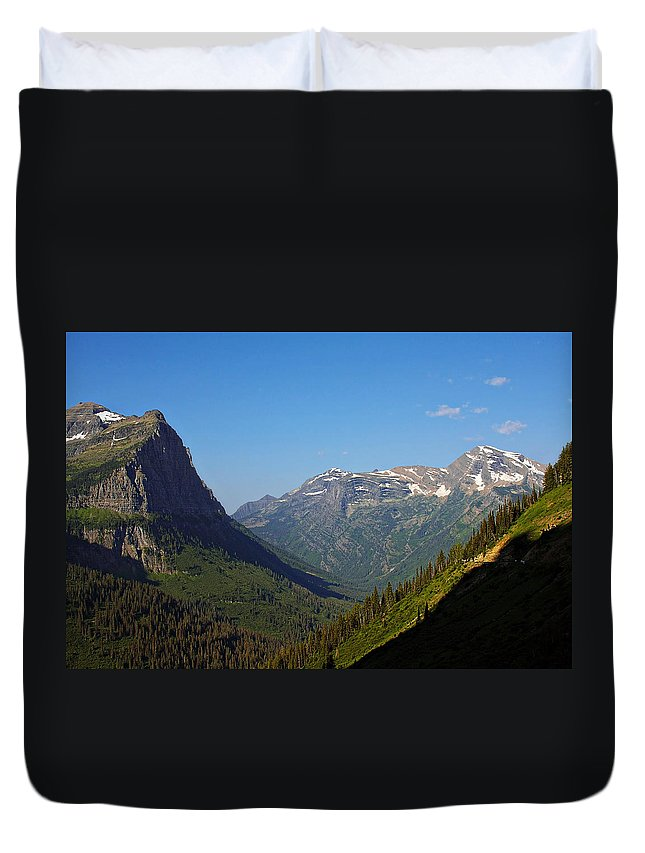 Glacier National Park Duvet Cover featuring the photograph Glacier National Park Mt - View From Going To The Sun Road by Christine Till