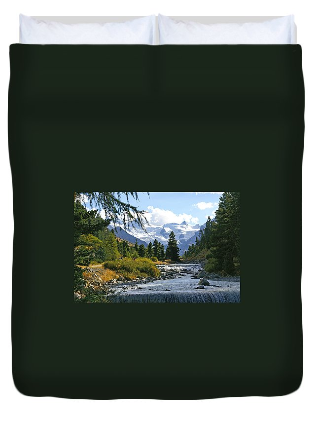 Mountain Duvet Cover featuring the photograph Glacier Stream by Tom Reynen