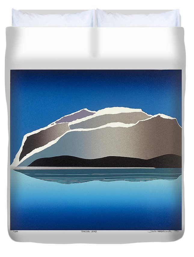 Landscape Duvet Cover featuring the mixed media Glaciers by Jarle Rosseland