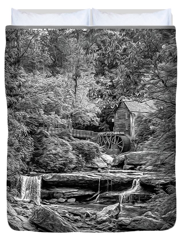 Mill Duvet Cover featuring the photograph Glade Creek Grist Mill 3 - Paint 2 Bw by Steve Harrington