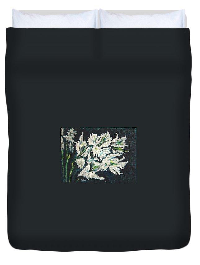 Gladioli Duvet Cover featuring the painting Gladioli by Usha Shantharam