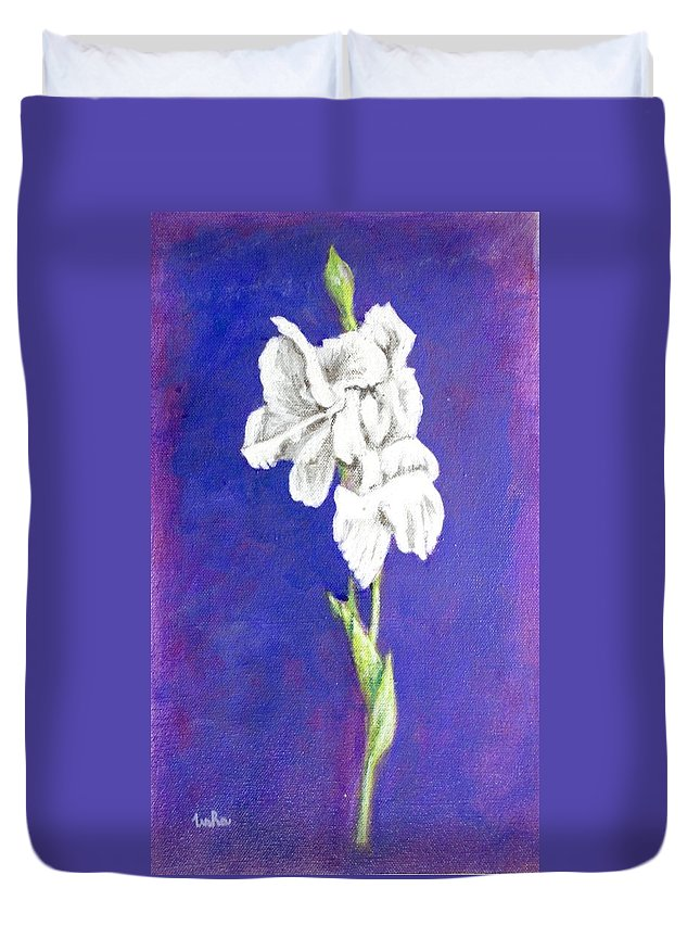Duvet Cover featuring the painting Gladiolus 2 by Usha Shantharam