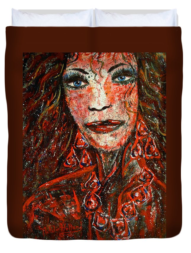 Woman Framed Prints Duvet Cover featuring the painting Glamorous by Natalie Holland