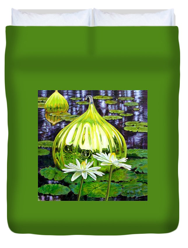 Water Lilies Duvet Cover featuring the painting Glass Among The Lilies by John Lautermilch