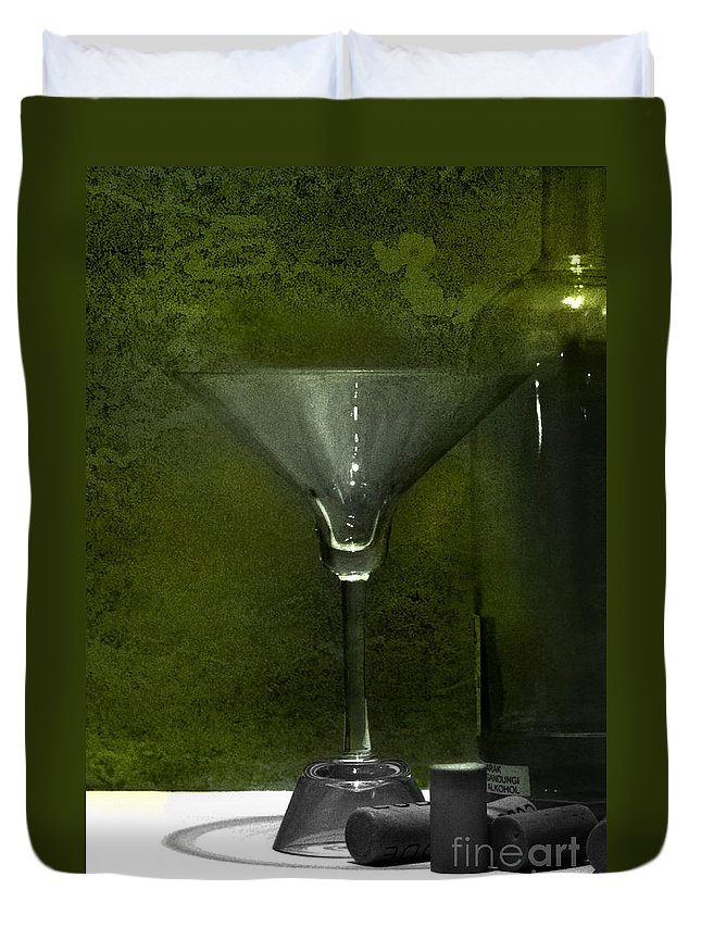 Glass Duvet Cover featuring the photograph Glass And Bottle by Charuhas Images