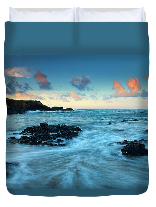 Glass Beach Duvet Cover featuring the photograph Glass Beach Dawn by Mike Dawson