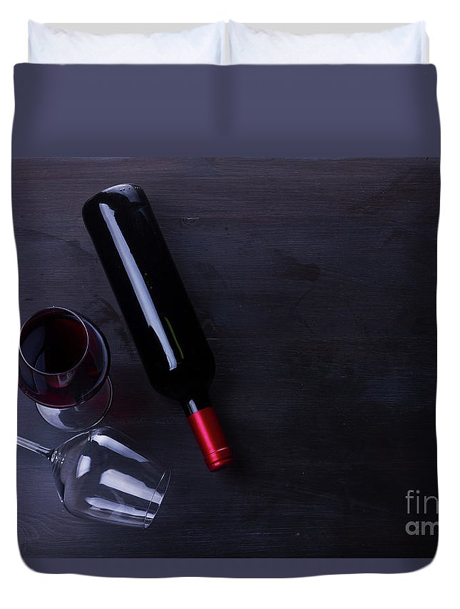 Wine Duvet Cover featuring the photograph Red Wine Set by Anastasy Yarmolovich