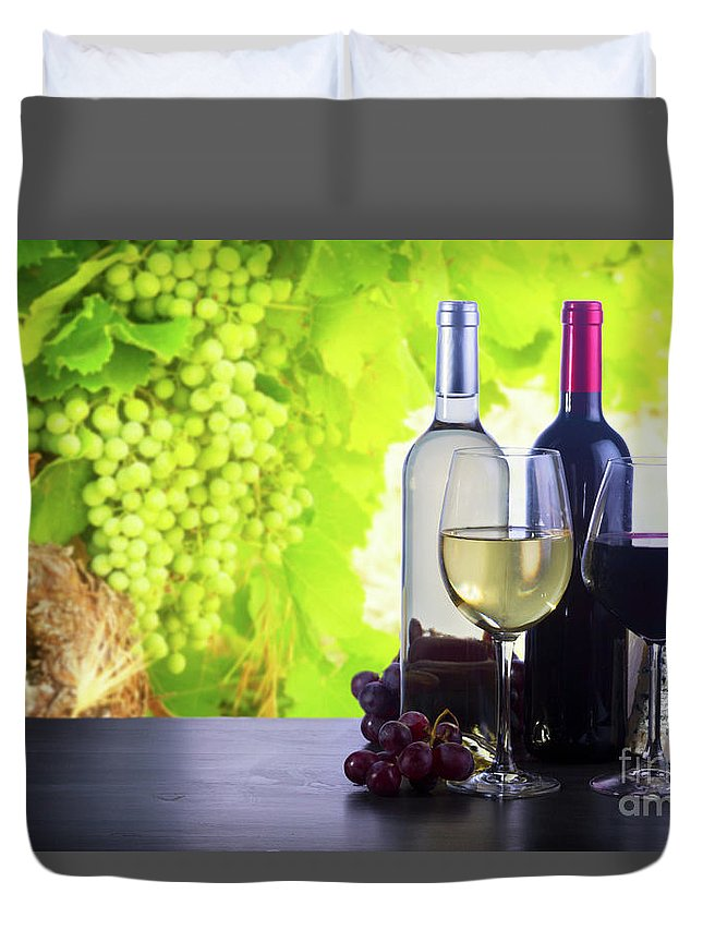 Wine Duvet Cover featuring the photograph Enjoying Wine by Anastasy Yarmolovich