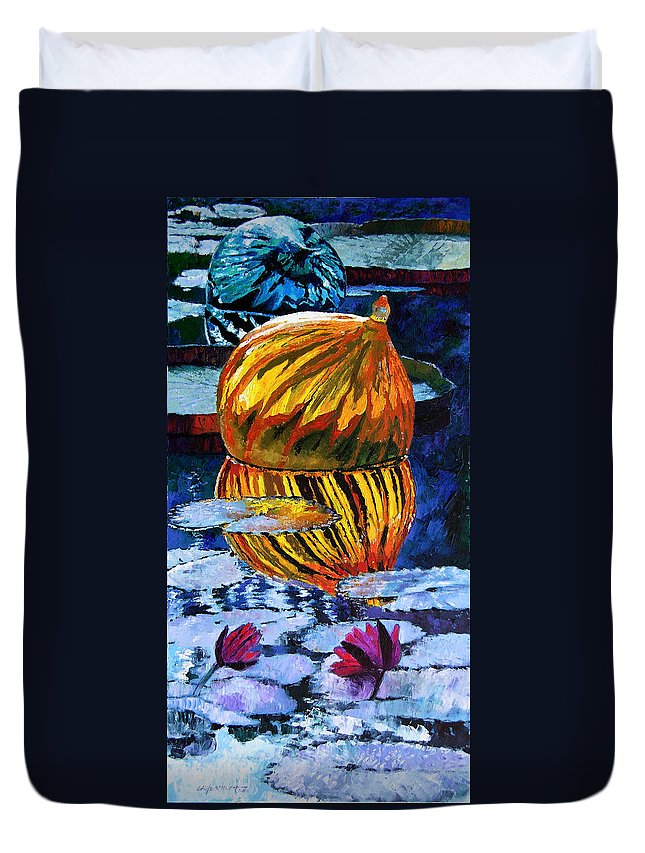 Blown Glass On Lily Pond Duvet Cover featuring the painting Glass Reflections On Lily Pond by John Lautermilch