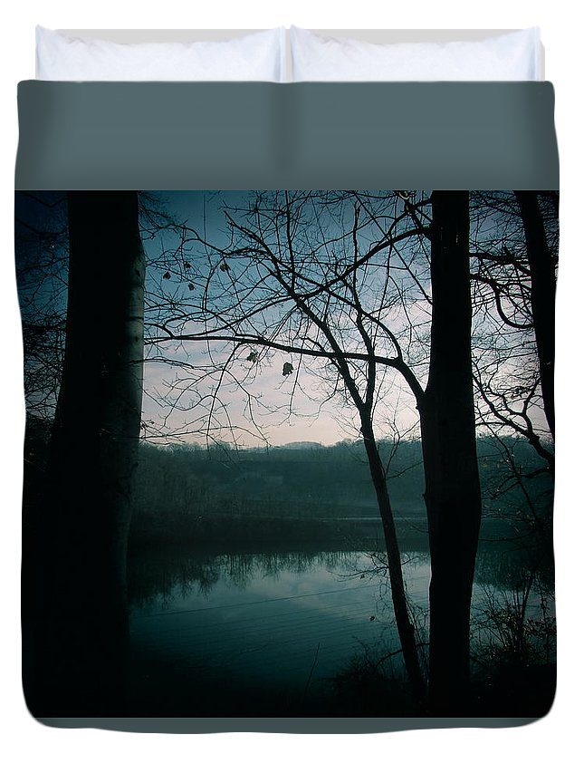 Duvet Cover featuring the photograph Glass River by Ellsbeth Page