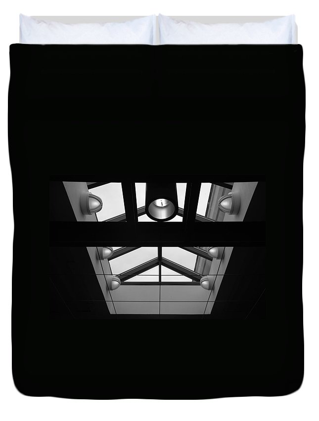 Black And White Duvet Cover featuring the photograph Glass Sky Lights by Rob Hans