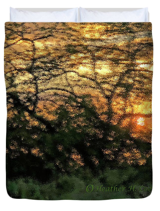 Sunset Duvet Cover featuring the photograph Glass Sunset Hawaii by Heather Coen