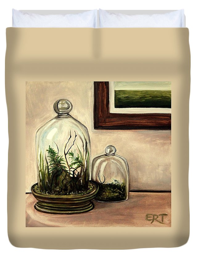 Glass Duvet Cover featuring the painting Glass Terrariums by Elizabeth Robinette Tyndall