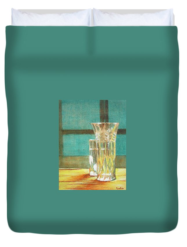 Glass Duvet Cover featuring the painting Glass Vase - Still Life by Usha Shantharam