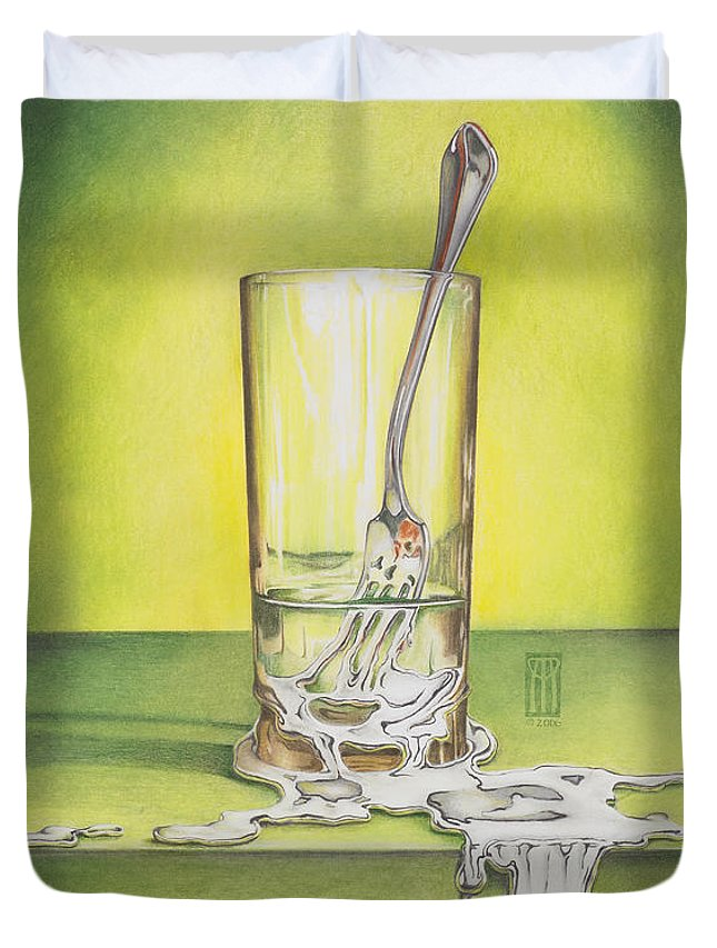 Bizarre Duvet Cover featuring the painting Glass With Melting Fork by Melissa A Benson