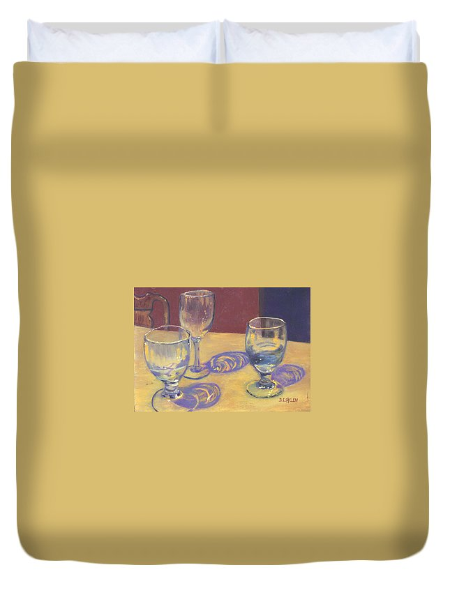 Glasses Duvet Cover featuring the painting Glasslights by Sharon E Allen