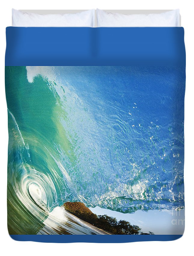 Amazing Duvet Cover featuring the photograph Glassy Wave Tube by MakenaStockMedia - Printscapes