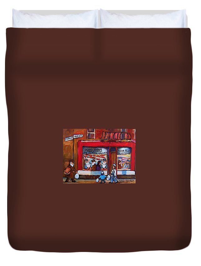 Montreal Street Scene Duvet Cover featuring the painting Glatts Kosher Meatmarket And Tailor Shop by Carole Spandau