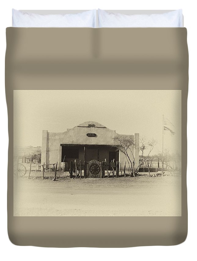 Old Jail Duvet Cover featuring the photograph Gleeson Jail by Joanne Rummel